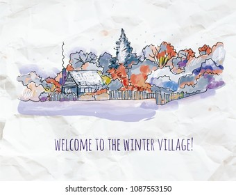 Winter village sketch for Christmas card or banner. Vector graphic illustratiom