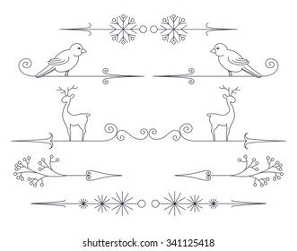 Winter vintage arrows. Set of cute outline holiday design elements with bird, deer, berry brunch and snowflakes