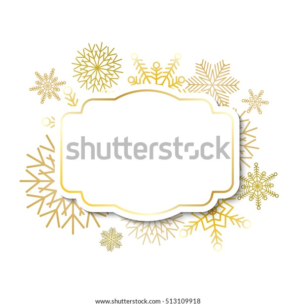 Winter Vintage Label Template Gold Frame Stock Vector