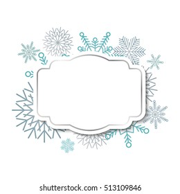 Winter vintage label template with silver frame on blue snowflakes background