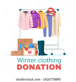 Winter warm clothing donation flat vector illustration. Cheap and free seasonal garment. Second hand shop, flea market goods. Outerwear, coat, sweater hanging on rack. Men, women wear thrift store