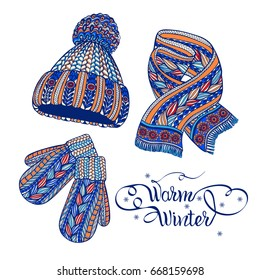 Winter warm knitted accessories pictograms of hat mittens and scarf colorful doodle style abstract vector isolated illustration