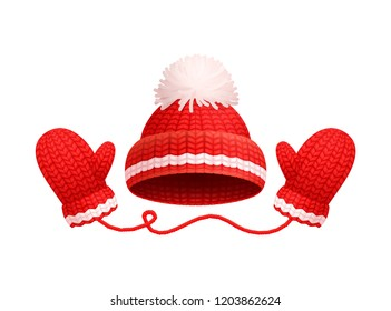 Winter warm red hat with white pom-pom and knitted glove icons. Woolen mittens and headwear in realistic design, outfit gauntlet, personal accessories
