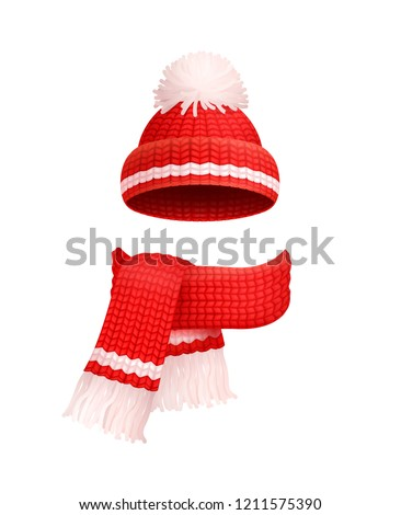 160cb641f398e Winter warm red hat with white pom-pom and knitted scarf icons. Woolen  neckcloth