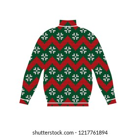 Winter warm sweater handmade, svitshot, jumper for knit, red color. Women's sweaters, men's sweater, unisex sweater. Design - snowflakes, reindeer jacquard pattern. Christmas, New Year, stock vector