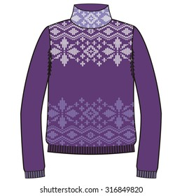 Winter warm sweater handmade, svitshot, jumper for knit, violet color.  Women's sweaters, men's sweater, unisex sweater. Drawing - snowflakes jacquard pattern.  Christmas, New Year  - stock vector.