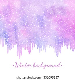 Winter watercolor abstract border, background with falling snow, snowflakes dot texture. Icicles uneven edge. Christmas, New Year hand drawn vector template. Pastel violet and pink watercolour stains.