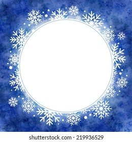 winter watercolor illustration. round frame with snowflakes. template