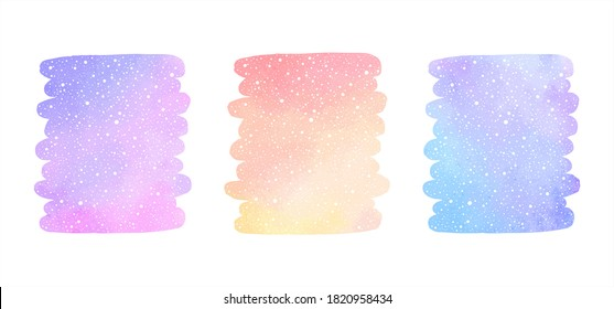 Winter watercolor vector backgrounds set, rectangle text frames with falling snow texture. Brush stroke shapes, watercolour colorful sky. Hand drawn banners, border templates, graphic design elements.