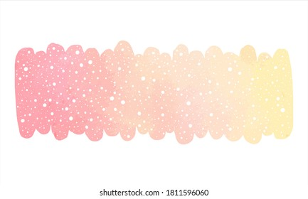 Winter watercolor vector long banner, text frame with falling snow texture. Brush stroke shape, blush pink watercolour stains. New Year hand drawn background, border template, graphic design element.