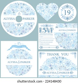 Winter wedding  set with Snowflakes circle composition.Openwork elements,text,numbers,ribbon, border.Vector design template CD or DVD,cover,RSVP,Thank card,Number,tag.Vector design template