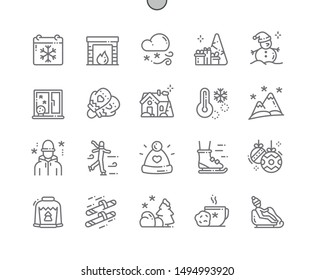 Winter Well-crafted Pixel Perfect Vector Thin Line Icons 30 2x Grid for Web Graphics and Apps. Simple Minimal Pictogram
