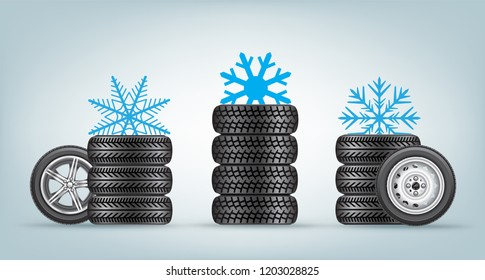 Winter wheels icon set with snowflake sign from above. Wintery tire collection and snow symbol