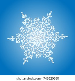 Winter white snowflake on blue background. Christmas element. Vector illustration.