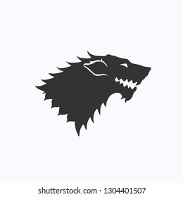 Winter wolf poster. Snow Wolf head symbol. Wolf head. Game of Thrones. Vector illustration. EPS 10.