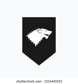 Winter wolf poster. Snow Wolf head symbol. Starks symbol wolf head on white background. Game of Thrones icon. Vector illustration. EPS 10.
