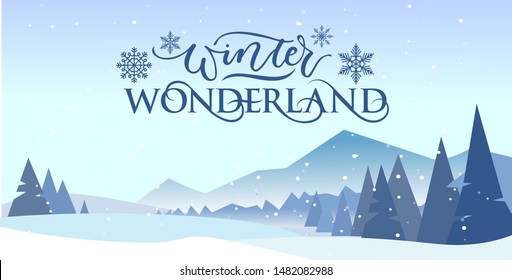 Winter wonderland banner vector illustration. Greeting postcard with picturesque view on snowy mountains and trees decorated with snowflakes. Xmas eve concept