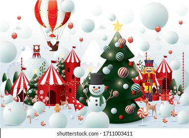 winter wonderland christmas greetings design template vector/illustration