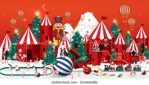 Winter wonderland Christmas greetings template vector/illustration