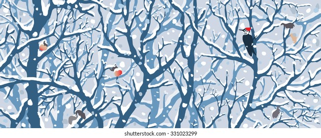 Winter Wonderland - First Snow. Hand drawn vector illustration of first snow covering trees, woodpecker, apples.