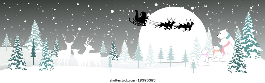 Winter wonderland,Vector illustration of Santa sleigh flying over night with reindeers in village,Reindeers and Polar bears family looking at the moon,Merry Christmas and Happy New Year background