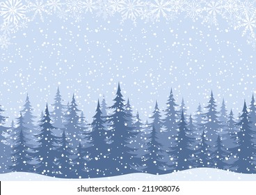 Winter woodland landscape with spruce fir trees and snowflakes, white and blue silhouettes. Vector