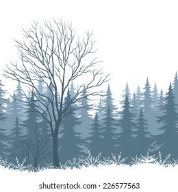 Winter woodland landscape with trees and snowflakes silhouettes. Eps10, contains transparencies. Vector