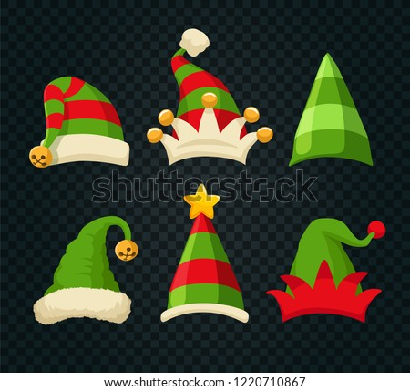 b6386c8412e87 Winter Woolen Elves Hat Christmas Set. Xmas Green and Red Fur Cap Photo  Booth Props for Kids on Transparent Background. Cartoon Style Vector  Illustration - ...