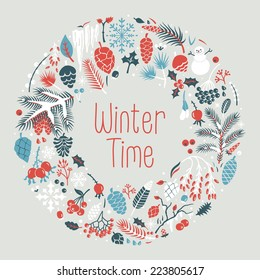 Winter wreath with  snow, cones, berries, pine branches, leafs. Vector illustration for postcards, calendars, posters, prints