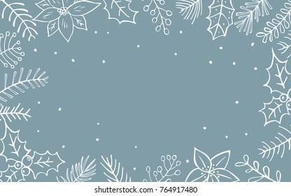 winter xmas christmas seasonal foliage branches flowers twigs border