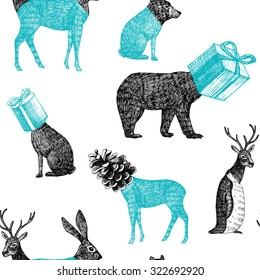 Winter xmas illustration of trendy hand drawn black pencil animals penguin, bear, rabbit, deer heads form of geometric presents and cones. Vector seamless vintage retro pattern sketch white background