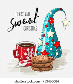 Wintertheme, red cup of coffee with stack of cookies, candy cane and abstract christmas tree, with text Merry and sweet Christmas  vector illustration, eps 10 with transparency