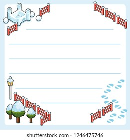 Wintertime setting with snow castle; fence, lantern and trees covered with snow and footprints (template, framed and lined for your own text)
