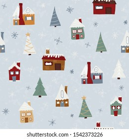 A Wintery Christmas Village Vector Seamless Pattern