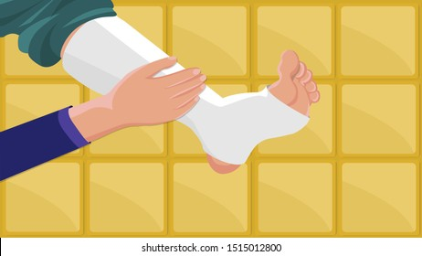 Wipe by hand on medical gypsum foot  - vector