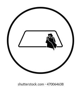 Wipe car window icon. Thin circle design. Vector illustration.
