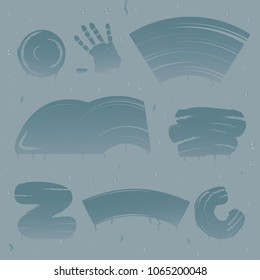 Wipe glass stains realistic set with images of spot splotches of different shape on steamy glass vector illustration