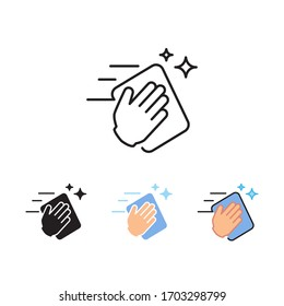 Wipe your hands with a cloth, rag or napkin. Clean hands after washing. Wipe and rag as cleaning or sanitize tool. Hand wiping with cloth icon. Vector illustration. Design on white background. EPS 10