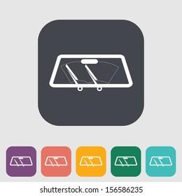 Wiper car single flat icon. Vector illustration.