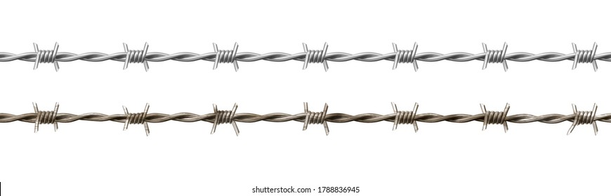 Wire barb, prison cell seamless border, jailhouse, old rusty and new barbwire fence. Boundary, territory defense steel barrier isolated on white background Realistic 3d vector illustration