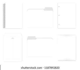 Wire bound notebook, file folders with cut tab, hole punched filler paper for 3 ring binder, envelope with reusable clasp, realistic vector mock up. A4 size stationery set, template