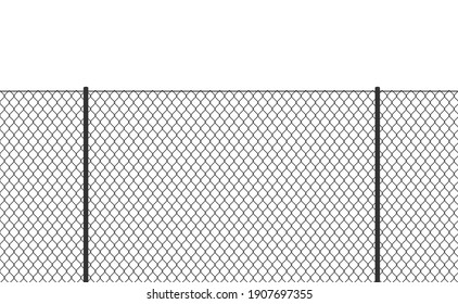 Wire chain-link fence. Vector steel woven net pattern illustration. Safety metal net barrier. Prison iron gate security fencing. Simple black texture