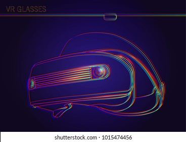 Wire connection to virtual reality. Vr glasses. Abstract world with neon lines. Vector illustration