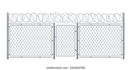 Wire fence or chain link protection with gate or wicket. Chainlink construction for police or prison, military. Chained boundary or enclosure, cage entrance. Steel linkage or barrier, protection theme