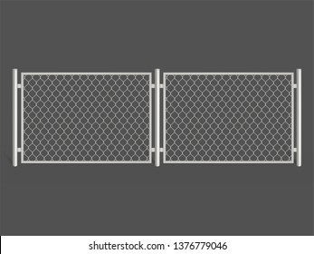 Wire fence isolated on grey background. Silver colored metal chain link mesh. Two segments rabitz gate, perimeter protection barrier construction separated with poles. Realistic 3d vector illustration