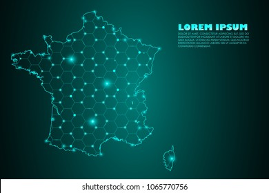 Wire frame 3D mesh polygonal network line. Abstract mash line and point scales on dark background with map of France. Vector illustration eps 10. design polygon sphere.communication world