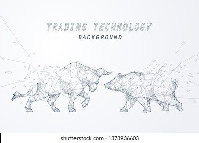 Wire frame bearish and bullish trend, technology trading for stock market, vector art and illustration.