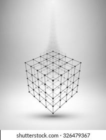 Wire frame Box. Cube with connected lines and dots. Vector Illustration EPS10.