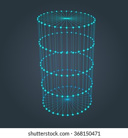 Wire frame cylinder. Connected dots and lines. connection structure. Vector 3d illustration.