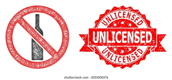 Wire frame forbidden alcohol icon, and Unlicensed textured ribbon stamp seal. Red stamp seal has Unlicensed title inside ribbon.Geometric wire frame 2D net based on forbidden alcohol icon,